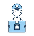 delivery worker with box avatar character vector image