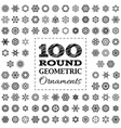 Set of 100 round geometric ornaments vector image