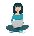 young woman who is sitting with laptop on knees vector image