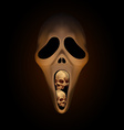 Spooky halloween mask with small human skull in vector image