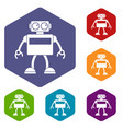 android robot icons set hexagon vector image