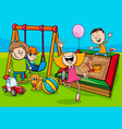 cartoon children characters on playground vector image