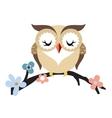 Cartoon owl on a flowering tree branch vector image vector image