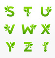 set of green eco letters logo with leaves vector image