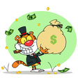 Successful Tiger Holding Up A Bag Of Money vector image vector image
