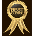 Best choice golden label with ribbon vector image