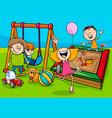 cartoon children characters on playground vector image