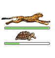 cheetah and turtle fast and slow loading bar vector image