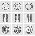line tire icon set vector image
