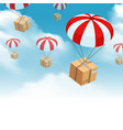 parachute parcel delivery composition vector image