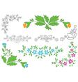 set - floral elements for design vector image