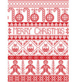 Tall Merry xmas pattern with gingerbread man xmas vector image