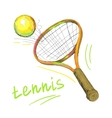 tennis racket and ball 1 vector image