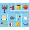 Happy Jewish new year Shana Tova icons vector image