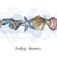 Sea shells background seamless pattern vector image vector image