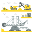 Flat design mining site equipment vector image