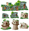 Cavemen and houses in the mountain vector image