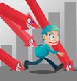 Man Run Stock Market Monster Down vector image