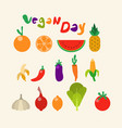 fruit vegetable collection flat color vector image