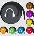 headphones icon Symbols on eight colored buttons vector image