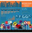 Set of motorcycles elements transportation vector image