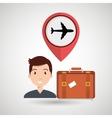 man suitcase airplane window vector image