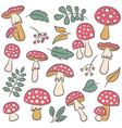 Poisonus mushrooms silhouette wallpaper vector image