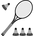 stencil of racket and badminton shuttlecocks vector image vector image