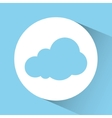 Blue and white design of cloud icon inside circle vector image