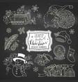 set of chalk doodles christmas design elements on vector image