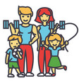 active sport family happy parents and children in vector image