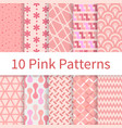 pink seamless patterns vector image vector image