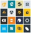 Geometric abstract icon set vector image