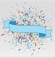 Flying christmas confetti with ribbon vector image