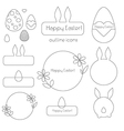Happy easter outline icons vector image