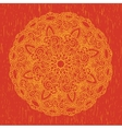 Ornament round orange mandala vector image