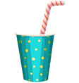 Party cup with straw vector image