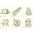 Set of camping and outdoor equipment on yellow mem vector image