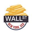 wall street new york golden bar wealth vector image