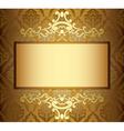 beige vintage card with golden frame vector image vector image