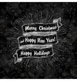 christmas label vintage on black vector image