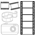 set of film strips and photocamera vector image vector image