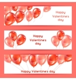 Happy Valentine day banners with pink and red vector image