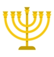 Jewish Menorah with candles icon flat style vector image