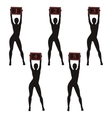 Silhouette boxing ring girls holding sign vector image