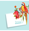 Tropical Flowers Pomegranates and Parrot Graphic vector image