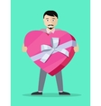 Man With Gift Box Flat Design vector image