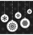 White Christmas balls with snowflakes vector image vector image