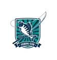 Fishing round icon for fisherman sport club emblem vector image
