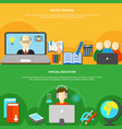 two e learning banner set vector image vector image